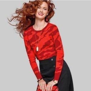 Cabi 3158 Red Camo Cotton X Pullover Sweater